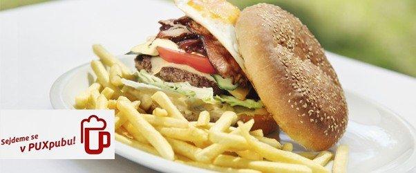 Domácí MAXI burgery 2 + 1 zdarma a sleva na veškeré pití v PUXpubu v Brně